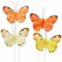 Papillon jaune orange sur fil 7 cm fil 24 pièces