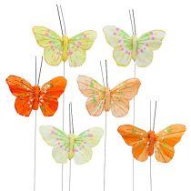 Papillon de plumes 6cm jaune, orange 24P