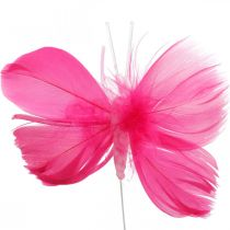 Papillons en plumes rose / rose / rouge, papillons décoratifs sur un fil 6pcs