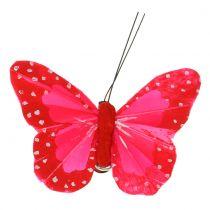 Papillons en plumes sur clip multicolore 7cm 12pcs