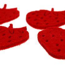 Fraises en feutrine rouge 32 p.