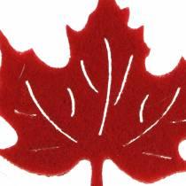 Déco automnale à parsemer feuilles en feutrine rouge, orange 3,5 cm 36 p.