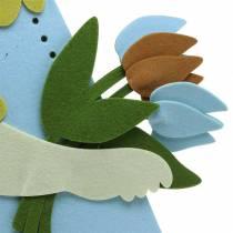 Grand lapin de Pâques en feutre crème, bleu clair, décoration de fenêtre 44cm H101cm