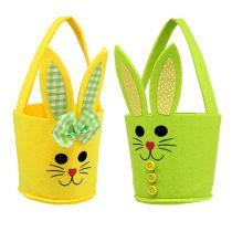 Sac en feutre lapin jaune, vert Panier de Pâques Décoration de Pâques en feutre 2pcs