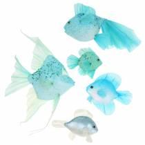 Poisson décoratif à suspendre bleu turquoise vert gris 10-22cm 5pcs
