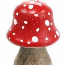 Champignons décoratifs en bois Ø4,6–5cm H6,8–7,2cm 4pcs