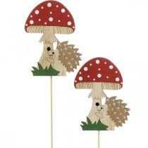 Bouchon décoratif, décoration bois automnale, hérisson avec champignon H11cm L34cm 12pcs