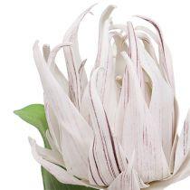 Fleur en mousse blanche et mauve 12 cm L. 30 cm 1 p.