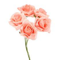Rose en foam Ø 4 cm saumon 48 ex.