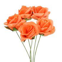Rose en foam Ø 4  cm orange 48 ex.