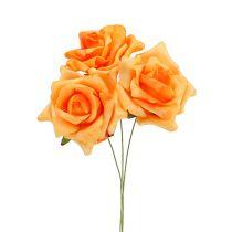 Rose en foam Ø6  cm orange clair 27 ex.