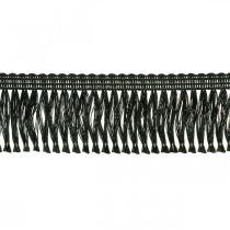 Ruban frangé, bordure cordonet, franges leoniennes noir L4cm L25m