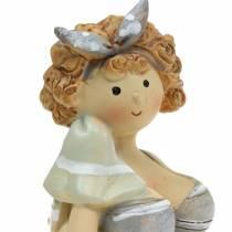 Figurine décorative dame en maillot de bain gris 10cm 2pcs