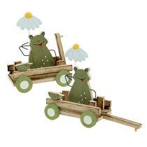 Grenouille dans charrette 19cm x 7cm x 14cm Vert 4P