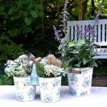 Décoration de printemps, seau en métal, motif fleur de seau de plante, décoration en métal H15 / 11 / 9.5cm lot de 3