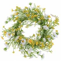 Couronne de fleurs en bois anémone blanc, jaune Ø30cm