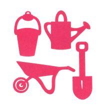 Accessoires de jardinage en feutrine fuchsia 24 p.