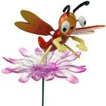 Bouchon de jardin libellule sur fleur avec ressort en métal orange, rose H74cm