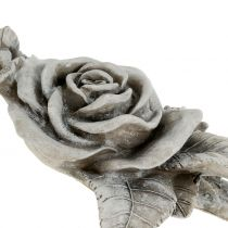 Rose grise pour décoration de tombe 16 x 13,5 cm 2 p.