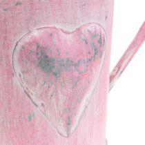 Jardinière arrosoir avec coeur rose, lavé blanc Ø12.5cm H13cm