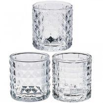 Mélange de motifs de lanterne en verre, décoration de bougie, récipient décoratif en verre, décoration de table 3 pièces dans un ensemble
