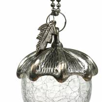 Décoration De Sapin De Noël Acorn Glass Silver Antique 11cm 4pcs