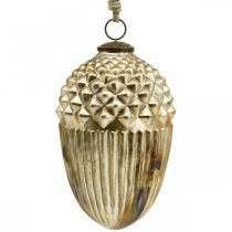 Décoration d'automne, gland décoratif en verre véritable, Avent, aspect antique Ø12cm H21cm