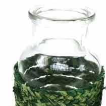Bouteille en verre avec liber vert H10cm 4pcs