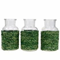 Bouteille en verre avec liber vert H12.5cm 3pcs