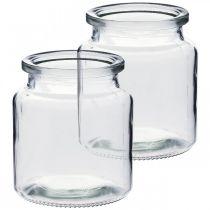 Récipient en verre à remplir, vase à fleurs, décoration de table, lanterne en verre 2pcs