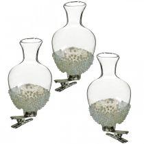 Vase en verre avec clip paillettes et perles Ø4,9cm H9,5cm clair 3pcs