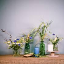 Vase En Verre Bouteille Jaune, Vert H19cm 2pcs
