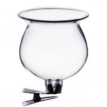 Vase en verre cloche avec clip transparent Ø5,5cm H6cm 4pcs