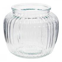 Vase en verre nervuré Ø14cm H13cm