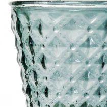 Coupe en verre avec pied, lanterne en verre Ø11cm H15,5cm