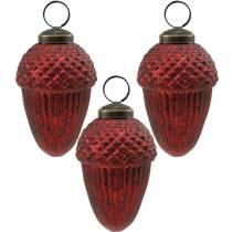 Décorations d'arbres cônes en verre véritable rouge 9cm 3pcs