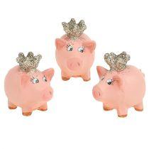 Cochon porte-bonheur rose avec couronne 4 cm 6 p.