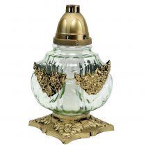 Lanterne tombale en verre avec motif de roses 14 x 14 cm H. 27 cm 2 p.