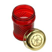 Bougies funéraires en verre rouge Ø6cm H11cm 12pcs