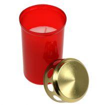Bougie funéraire cylindrique rouge Ø 6 cm H. 12cm 12 p.