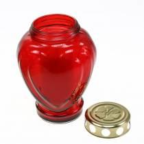 Grave coeur lumineux rouge 11,5cm x 8,5cm H17,5cm 4pcs