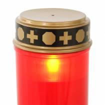 Lampe tombale LED rouge, blanc chaud minuterie à piles Ø6,8 H12,2cm