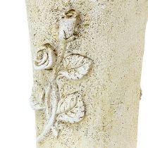 Vase grave crème motif rose L35cm 1p