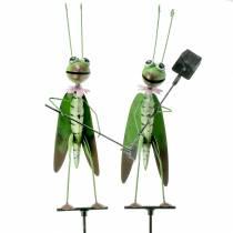 Bouchon de jardin Grasshopper métal vert H114cm 2pcs