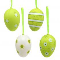 Suspensions œufs en plastique vert 6 cm 12 p.