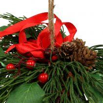 Cintre de Noël avec des cônes et des baies 16cm