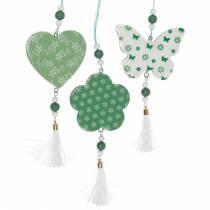 Décoration à suspendre coeur fleur papillon blanc, décoration de printemps en bois vert 6pcs