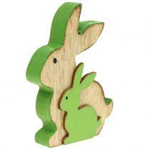 Lapin décoratif en bois avec enfant 9cm coloris assortis 6pcs