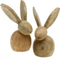 Décoration de Pâques lapin en bois décoration assis lapin de Pâques nature 12cm 4pcs