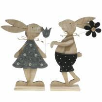 figurine déco lapin en bois Feutre 30 / 31,5cm 2pcs